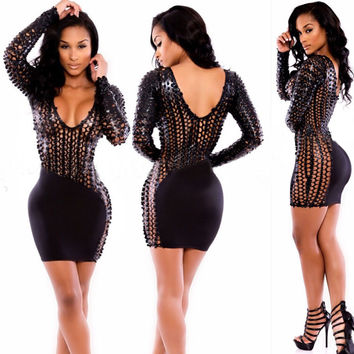 Black Fishnet Leatherette Long Sleeve Bodycon Mini Dress