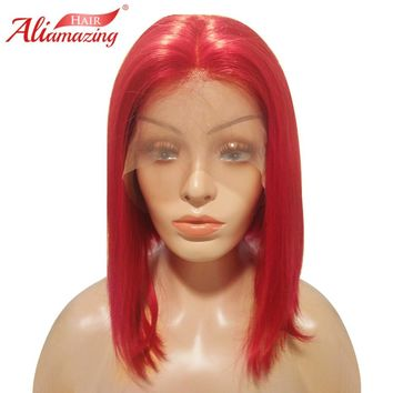 Ali Amazing Hair Lace Front Human Hair Short Bob Wigs For Women Red Color Brazilian Remy Hair 130% Density Wigs