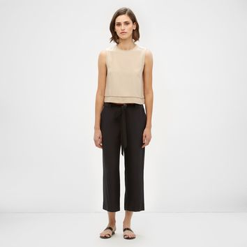 Silk Drawstring Pant - Black