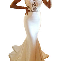 Sheer Tulle Lace Pattern Sleeveless Mermaid Dress with Train White - Nextshe.com