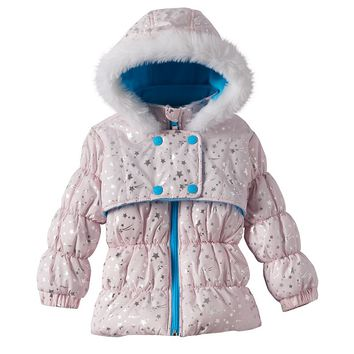 Wipette Foiled Star Hooded Puffer Jacket - Baby Girl, Size: