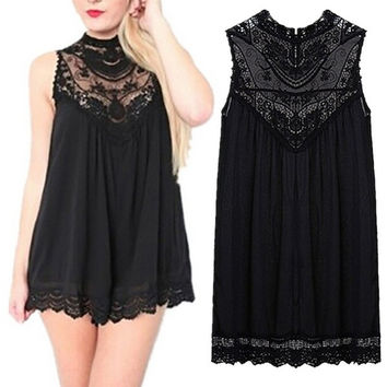 Women Lace Evening Summer Short Beach  Chiffon  Dress = 5617186113