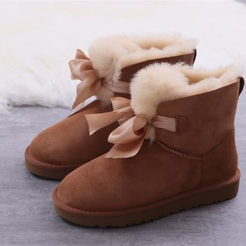 Ugg winter bow-knot boots women's Brown shoes