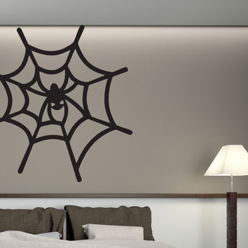Wall Vinyl Sticker Cheerful Spider Hunter Spiderweb Decor Unique Gift (n533)