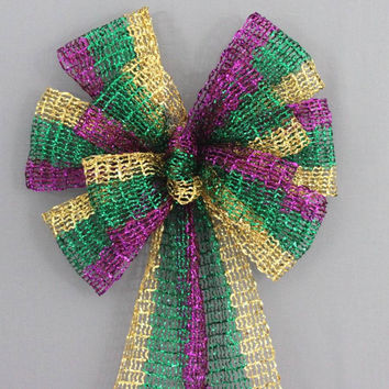 Mardi Gras Tinsel Stripe Bow