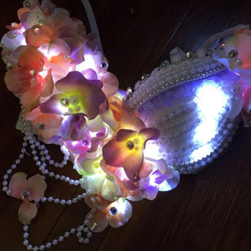 LED Romantic Nymph Bra: edm, plur, kandi, fairy rave wear, festival, cosplay, edc, edc bra, rave bra, edm, costume