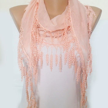 Blush Pink  Scarf - Pink  Cotton Lace Scarf - Bridesmaid Gift Wedding Bridal Accessories