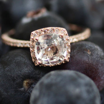 Cushion white sapphire in 14k rose gold diamond by EidelPrecious