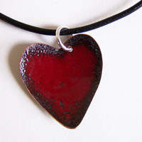 Copper Enamel Necklace Red Heart Necklace