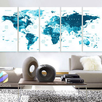 "XLARGE 30""x 70"" 5 Panels Art Canvas Print World Map Original Watercolor Blue Push Pin Travel cities Wall Home Office (framed 1.5"" depth)"