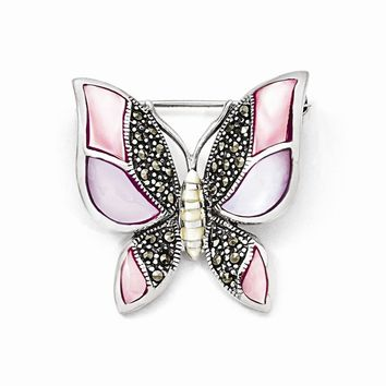 Sterling Silver Marcasite Mother of Pearl Butterfly Pin