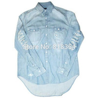 Long Sleeve Men Denim Shirts