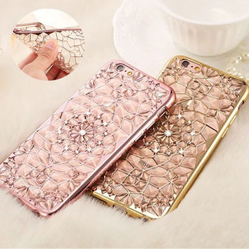 Bling Flower Silicon Plastic Soft TPU Celular For Apple iPhone 5S SE 6S 7Plus Silicon Back Cover Phone Case On 5 6Plus 7 Housing