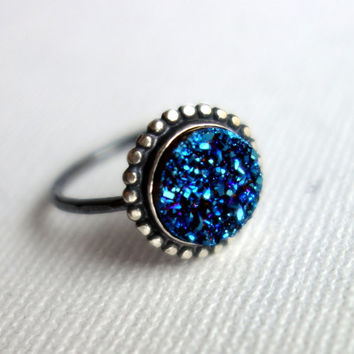 Handmade Blue Druzy Ring with Beaded Border in Sterling Silver