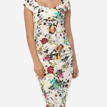 Streetstyle  Casual Floral Printed Charming Sweet Heart Bodycon-dress