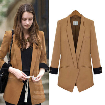Cuffed-Sleeve Lapel Blazer With Pocket