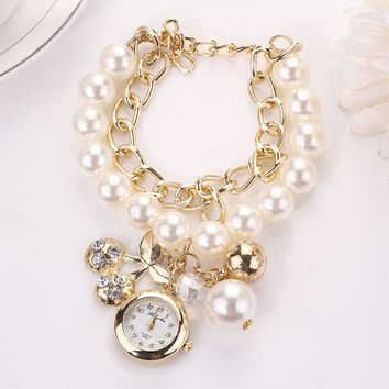 Artificial Pearl Rhinestone Cherry Pendant Quartz Bracelet Wristwatch