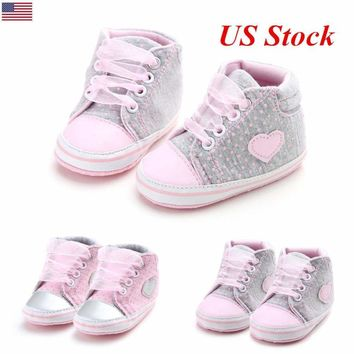 US Baby Cute Shoes Toys Girls Heart Pattern Walkers Kids Toddlers Lace Up Shoes