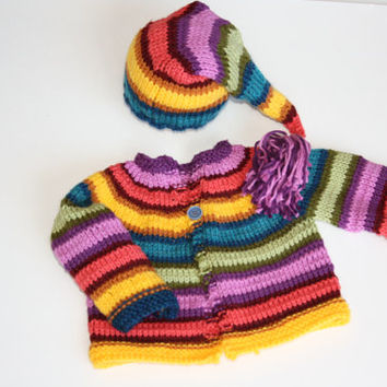 Newborn gift set knit elf hat and sweater set