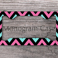 Customized License Plate Frame - Fuchsia, Tiffany blue and Black chevron personalized car tag, license tag frame