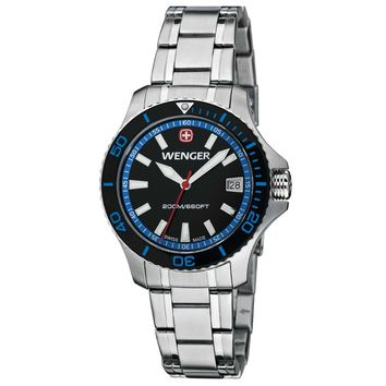 Wenger 0621.104 Women's Sea Force Blue Accents Black Dial Stainless Steel Watch