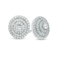 1/2 CT. T.W. Diamond Layered Circle Stud Earrings in 10K White Gold