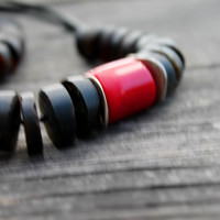 Black Red Necklace Amber and Coral Jewelry Bohemian Natural Black Amber Dark African Style Necklace Statement