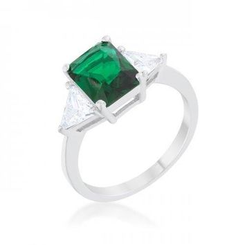 Classic Emerald Rhodium Engagement Ring (size: 10) (pack of 1 ea)