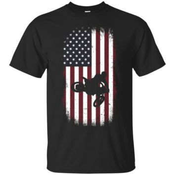 Motocross T Shirt for Men with USA Flag Distressed