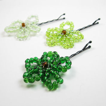 St Patricks Day Beaded Bobby Pins - Girls Bobby Pins - Green Ombre Flower Bobby Pins - Kids Hair Pins - Teen Bobby Pins