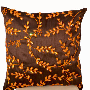 Brown Accent Pillows Orange Bead Sequin Detailed Leaves Cushion