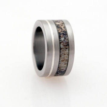 antler wedding ring for mena an woman silver inlay ring