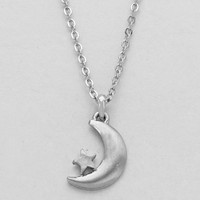 Crescent Moon & Star Tiny Dainty Pendant Necklace - Silver