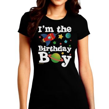 I'm the Birthday Boy - Outer Space Design Juniors Crew Dark T-Shirt by TooLoud