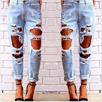 [13217] Skinny Faded Ripped Casual Slim Denim Cotton Jeans