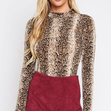 Snake Charmer Brown Python Print Animal Pattern Long Sleeve Round Neck Backless Bodysuit Top
