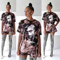 Tupac Print Cut Out Shirt