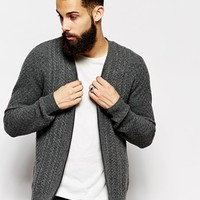 ASOS Lambswool Rich Cable Cardigan with Zip