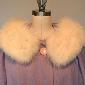 50s 60s Lavender Wool Coat with Fur Collar - Vintage Fifties Sixties Ladies Textured Light Purple Wool Coat with White Fox Fur Collar MadMen