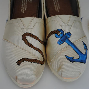Custom Hand Painted TOMS Anchor Design shoes
