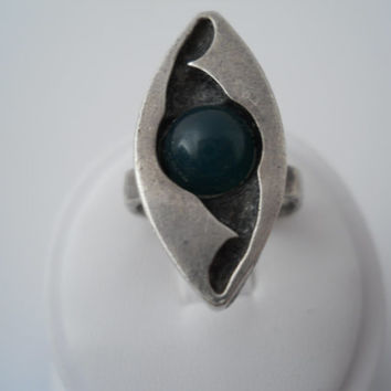 Sterling Silver 925 Antique Hammered Jade Ring Groove Set Size 6
