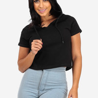 Black Hooded Cuffed Sleeve Top
