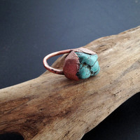 Twisted Turquoise Howlite Ring - Statement Ring - Unique Ring - December Birthstone - Copper Ring - Semiprecious Stone Ring - SIZE 8