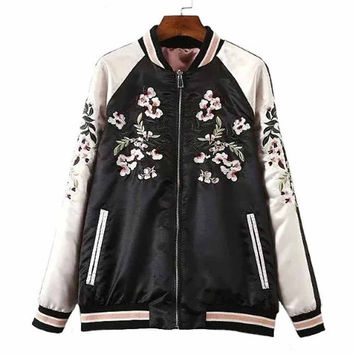 Floral Phoenix Embroidered Reversible Bomber Jacket