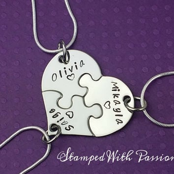 Best Friends Forever 3 Piece Puzzle Necklace Set, Three Necklace Set, Best Friend Jewelry, Customize-Sister Jewelry, Heart Puzzle Necklaces