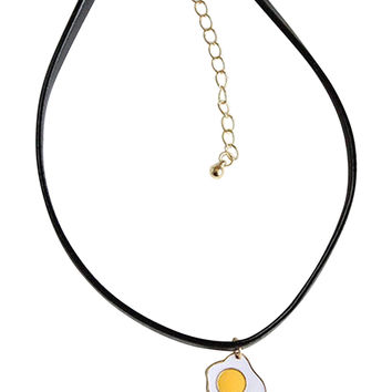 Black Poached Egg Pendant Leather Look Choker Necklace