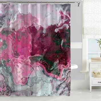 Contemporary shower curtain with abstract art, hot pink and gray, Raspberry