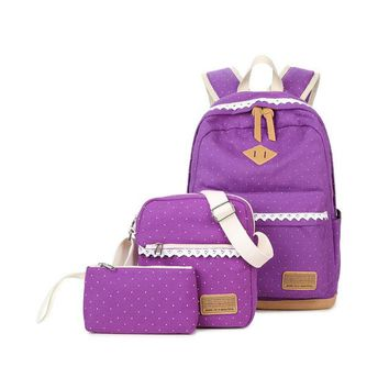 Student Backpack Children Casual girl backpack canvas dot student bag multi-function three-piece mother bag multi-color student backpack  shipping AT_49_3