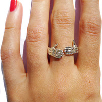 verameat | skeleton thumbs up ring in silver