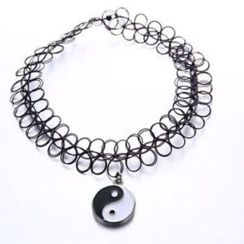 Tattoo Choker Statement Necklace Black Ying Yang